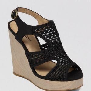 Lucky Brand Remmy Platform Wedge Black Sandal
